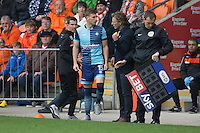 Gareth Ainsworth Manager of Wycombe Wanderers gives some last minute advice to substitute Dayle Southwell during the Sky Bet League 2 match between Blackpool and Wycombe Wanderers at Bloomfield Road, Blackpool, England on 20 August 2016. Photo by James Williamson / PRiME Media Images.