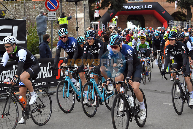 5,000 participants including Team Sky riders of the Gran Fondo Strade Bianche 2019 crossed the start line in the fantastic location of the Fortezza Medicea in Siena running 133km from Siena to Siena, held over the white gravel roads of Tuscany, Italy. 10th March 2019.<br /> Picture: LaPresse/Gian Matteo D'Alberto | Cyclefile<br /> <br /> <br /> All photos usage must carry mandatory copyright credit (© Cyclefile | LaPresse/Gian Matteo D'Alberto)