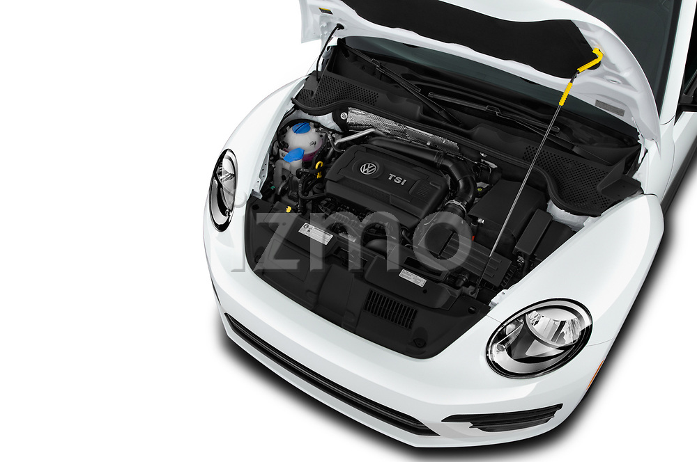 Car stock 2019 Volkswagen Beetle S 5 Door Hatchback engine high angle detail view