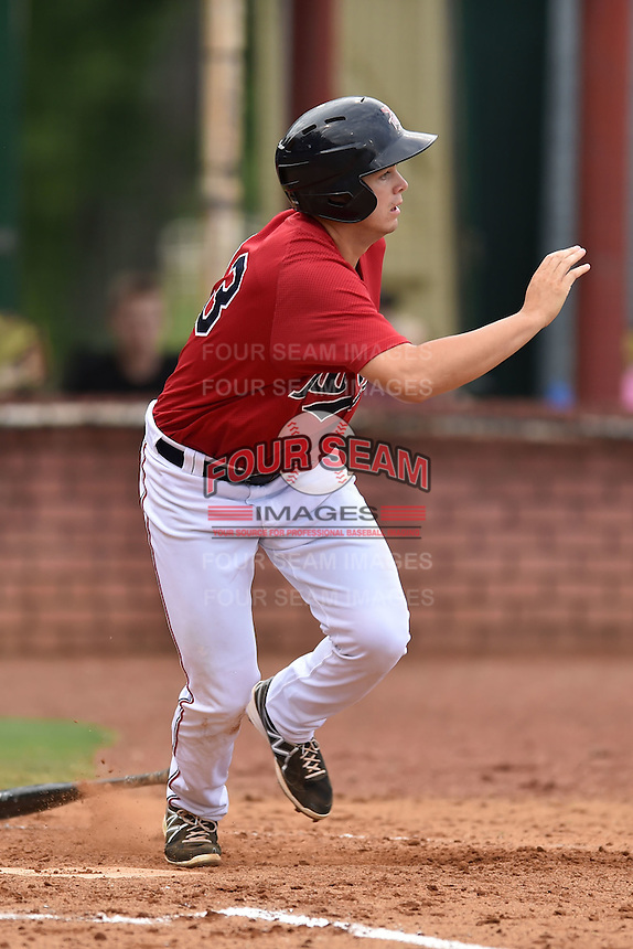 Elizabethton Twins first baseman Trey Vavra #33 runs to first during a game against the  Bristol Pirates at Joe O'Brien Field June 30, 2014 in Elizabethton, Tennessee. The Twins defeated the Pirates 8-5 in game one of a double header. (Tony Farlow/Four Seam Images)