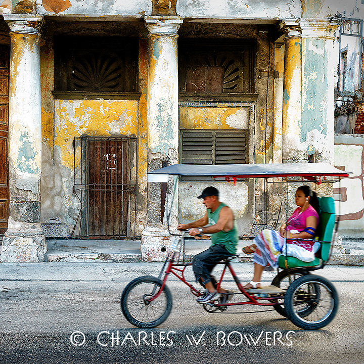 Faces Of Cuba - Three wheelers every where so watch out.<br /> <br /> -Limited Edition of 50 prints.