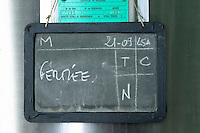 Fermentation tanks. Sign. Chateau Le Fournas Bernadotte, Medoc, Bordeaux, France