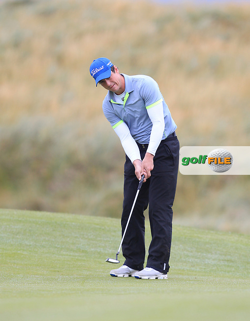 Colin Fairweather (Knock) on the 3rd green during Matchplay Semi Final of the South of Ireland Amateur Open Championship at LaHinch Golf Club on Sunday 26th July 2015.<br /> Picture:  Golffile | TJ Caffrey