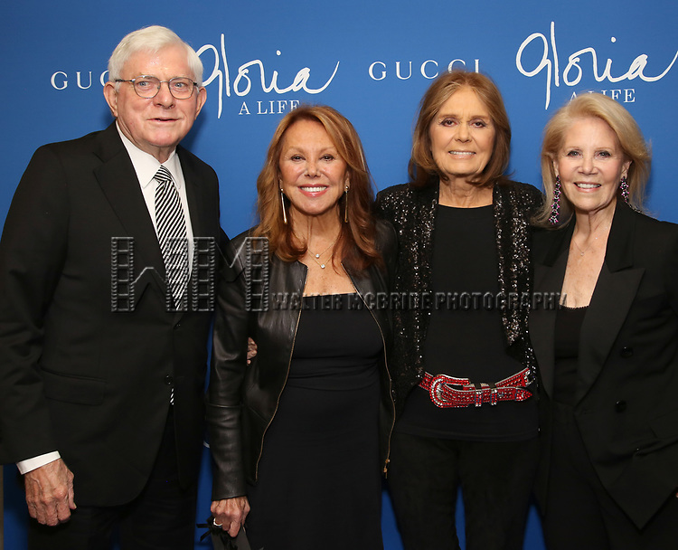 """Phil Donahue, Marlo Thomas, Gloria Steinem and Daryl Roth attends the Opening Night Performance of """"Gloria: A Life"""" on October 18, 2018 at the Daryl Roth Theatre in New York City."""