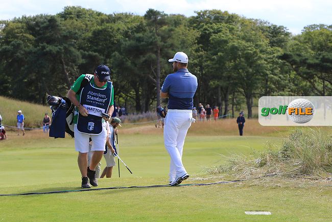 Tyrrell Hatton (ENG) on the 2nd during Round 4 of the Aberdeen Standard Investments Scottish Open 2019 at The Renaissance Club, North Berwick, Scotland on Sunday 14th July 2019.<br /> Picture:  Thos Caffrey / Golffile<br /> <br /> All photos usage must carry mandatory copyright credit (© Golffile | Thos Caffrey)