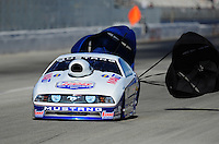 Feb. 10, 2012; Pomona, CA, USA; NHRA pro stock driver Larry Morgan during qualifying at the Winternationals at Auto Club Raceway at Pomona. Mandatory Credit: Mark J. Rebilas-