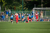 Kansas City, MO - Saturday May 27, 2017: FC Kansas City celebrate during a regular season National Women's Soccer League (NWSL) match between FC Kansas City and the Washington Spirit at Children's Mercy Victory Field.
