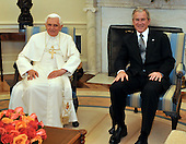 Washington, DC - April 15, 2008 -- Pope Benedict XVI and United States President George W. Bush pose for a photo in the Oval Office at the White House in Washington, D.C. on Wednesday, April 16, 2008.  .Credit: Ron Sachs / CNP.(RESTRICTION: NO New York or New Jersey Newspapers or newspapers within a 75 mile radius of New York City)