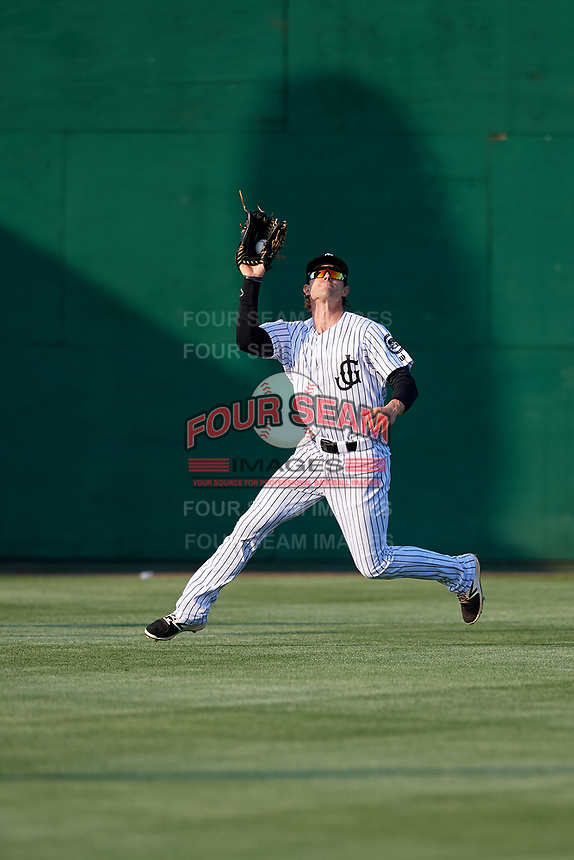 Jackson Generals center fielder Evan Marzilli (45) catches a fly ball during a game against the Chattanooga Lookouts on April 29, 2017 at The Ballpark at Jackson in Jackson, Tennessee.  Jackson defeated Chattanooga 7-4.  (Mike Janes/Four Seam Images)
