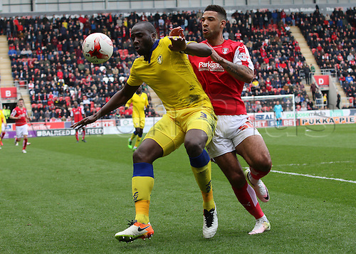 02.04.2016. New York Stadium, Rotherham England.  Sky Bet Championship Rotherham versus Leeds United.Leeds Souleymane Bamba defends the ball from Rotherham's Leon Best