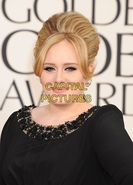 Adele (Adele Laurie Blue Adkins).Arrivals at the 70th Annual Golden Globe Awards held at the Beverly Hilton Hotel, Hollywood, California, USA..January 13th, 2013.globes headshot portrait hair up beads beaded collar black  .CAP/GAG.©GAG/Capital Pictures