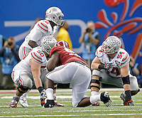 Ohio State Buckeyes quarterback Cardale Jones (12), Ohio State Buckeyes offensive lineman Jacoby Boren (50) and Ohio State Buckeyes offensive lineman Billy Price (54) against Alabama Crimson Tide in the Allstate Sugar Bowl college football Playoff Semifinal game against Alabama Crimson Tide at the Mercedes-Benz Superdome in New Orleans, Louisiana on January 1, 2015.  (Dispatch photo by Kyle Robertson)