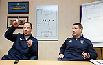 Rangers youth coaches Jim Sinclair and Alan Boyd at Murray Park outlining the success of their football in the community scheme