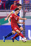 Nguyen Cong Phuong of Vietnam (front) fights for the ball with Yoshida Maya of Japan (back) during the AFC Asian Cup UAE 2019 Quarter Finals match between Vietnam (VIE) and Japan (JPN) at Al Maktoum Stadium on 24 January 2018 in Dubai, United Arab Emirates. Photo by Marcio Rodrigo Machado / Power Sport Images