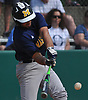 Mike Grisanti #22 of Massapequa connects for an RBI single in the top of the second inning of the Nassau County varsity baseball Class AA final against Oceanside at SUNY Old Westbury on Saturday, May 26, 2018. Massapequa won 6-5 to take Game 1 of the best-of-three series.