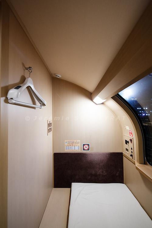 Tokyo, February 13 2014 - On board of the Sunrise Seto, an overnight train running from Tokyo to Takamatsu in Shikoku.