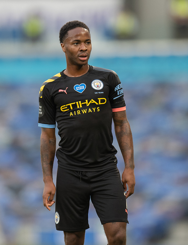 Manchester City's Raheem Sterling <br /> <br /> Photographer David Horton/CameraSport<br /> <br /> The Premier League - Brighton & Hove Albion v Manchester City - Saturday 11th July 2020 - The Amex Stadium - Brighton<br /> <br /> World Copyright © 2020 CameraSport. All rights reserved. 43 Linden Ave. Countesthorpe. Leicester. England. LE8 5PG - Tel: +44 (0) 116 277 4147 - admin@camerasport.com - www.camerasport.com