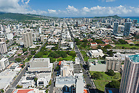 Aerial of Thomas Sq and the Blaisdell Center looking towards Diamond Head