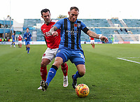 Fleetwood Town's Ross Wallace competing with Gillingham's Barry Fuller<br /> <br /> Photographer Andrew Kearns/CameraSport<br /> <br /> The EFL Sky Bet League One - Gillingham v Fleetwood Town - Saturday 3rd November 2018 - Priestfield Stadium - Gillingham<br /> <br /> World Copyright © 2018 CameraSport. All rights reserved. 43 Linden Ave. Countesthorpe. Leicester. England. LE8 5PG - Tel: +44 (0) 116 277 4147 - admin@camerasport.com - www.camerasport.com