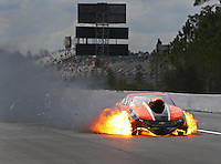 Mar 18, 2016; Gainesville, FL, USA; NHRA pro mod driver Dan Stevenson has an engine fire after an explosion during qualifying for the Gatornationals at Auto Plus Raceway at Gainesville. Mandatory Credit: Mark J. Rebilas-USA TODAY Sports