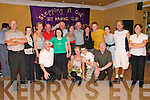 Dancing : Gerry O'Rourke , (centre back) from Castleisland , with friends at the dancing festival at the Listowel Arms on Sunday