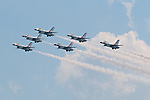"The Thunderbirds, the U.S. Air Force demonstration squadron, performed during the 2014 ""Thunder Over the Boardwalk"" Atlantic City Airshow. A crowd of nearly 700,000 watched the Thunderbirds, flyovers of World War II era and modern aircraft and aerobatics performed by the US Army and other air demonstration teams."