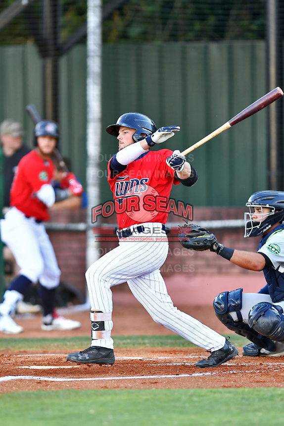 Elizabethton Twins second baseman Carson Crites (39) swings at a pitch during a game against the Pulaski Yankees at Joe O'Brien Field on June 27, 2016 in Elizabethton, Tennessee. The Yankees defeated the Twins 6-4. (Tony Farlow/Four Seam Images)