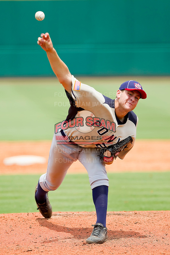 Lucas Giolito #25 of PONY in action against Dixie at the 2011 Tournament of Stars at the USA Baseball National Training Center on June 26, 2011 in Cary, North Carolina.  PONY defeated Dixie 4-3. (Brian Westerholt/Four Seam Images)