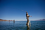 Ron Dunn fishes for Lahontan cutthroat trout at Pyramid Lake  in Sutcliffe, Nevada, April 18, 2013.