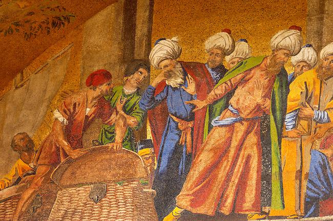 Mosaic on Saint Marks Basilica -Taking Saint Marks Body From Alexandria -  Venice - Italy