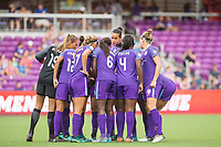 Orlando, FL - Saturday August 05, 2017: Orlando Pride huddle during a regular season National Women's Soccer League (NWSL) match between the Orlando Pride and the Chicago Red Stars at Orlando City Stadium.