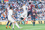Real Madrid's player Cristiano Ronaldo and Karim Benzema and Eibar FC's player Florian Lejeune and Mauro Dos Santos during a match of La Liga Santander at Santiago Bernabeu Stadium in Madrid. October 02, Spain. 2016. (ALTERPHOTOS/BorjaB.Hojas)