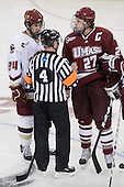 Matt Lombardi (BC - 24), Justin Braun (UMass - 27) - The Boston College Eagles defeated the University of Massachusetts-Amherst Minutemen 6-5 on Friday, March 12, 2010, in the opening game of their Hockey East Quarterfinal matchup at Conte Forum in Chestnut Hill, Massachusetts.