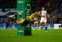 Australia's Israel Folau scores his sides first try<br /> <br /> Photographer Bob Bradford/CameraSport<br /> <br /> 2018 Quilter Internationals - England v Australia - Saturday 24th November 2018 - Twickenham - London<br /> <br /> World Copyright &copy; 2018 CameraSport. All rights reserved. 43 Linden Ave. Countesthorpe. Leicester. England. LE8 5PG - Tel: +44 (0) 116 277 4147 - admin@camerasport.com - www.camerasport.com