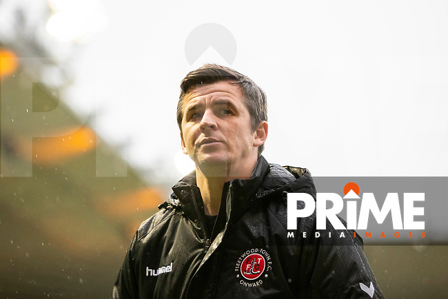 Fleetwood Town manager Joey Barton leaves the field at half time of the Sky Bet League 1 match between Plymouth Argyle and Fleetwood Town at Home Park, Plymouth, England on 25 November 2018. Photo by Mark Hawkins / PRiME Media Images.