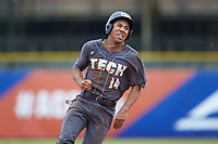 Austin Wilhite (14) of the Georgia Tech Yellow Jackets rounds second base against the Miami Hurricanes during game one of the 2017 ACC Baseball Championship at Louisville Slugger Field on May 23, 2017 in Louisville, Kentucky. The Hurricanes walked-off the Yellow Jackets 6-5 in 13 innings. (Brian Westerholt/Four Seam Images)