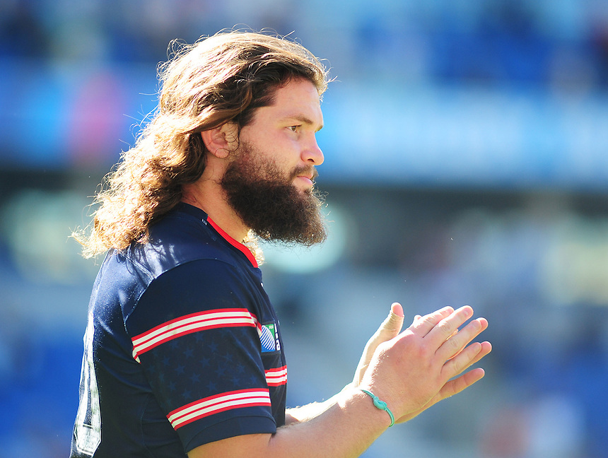 USA's Danny Barrett applauds the fans after todays match<br /> <br /> Photographer Kevin Barnes/CameraSport<br /> <br /> Rugby Union - 2015 Rugby World Cup - Samoa v USA - Sunday 20th September 2015 - Brighton Community Stadium - Falmer - Brighton<br /> <br /> &copy; CameraSport - 43 Linden Ave. Countesthorpe. Leicester. England. LE8 5PG - Tel: +44 (0) 116 277 4147 - admin@camerasport.com - www.camerasport.com