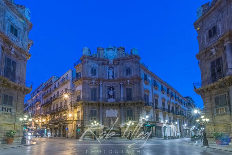 Europe, Italy, Sicily, Palermo,Quatro Canti (Piazza Vigleena) at Dawn