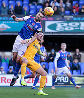 Ipswich Town's Gwion Edwards heads away from Preston North End's Alan Browne<br /> <br /> Photographer David Shipman/CameraSport<br /> <br /> The EFL Sky Bet Championship - Ipswich Town v Preston North End - Saturday 3rd November 2018 - Portman Road - Ipswich<br /> <br /> World Copyright &copy; 2018 CameraSport. All rights reserved. 43 Linden Ave. Countesthorpe. Leicester. England. LE8 5PG - Tel: +44 (0) 116 277 4147 - admin@camerasport.com - www.camerasport.com