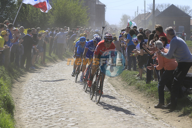 The breakaway Jelle Wallays (BEL) Lotto-Soudal, Mickael Delage (FRA) FDJ and Yannick Martinez (FRA) Delko Marseille KTM hold a 45&quot; advantage on pave sector 29 Troisvilles a Inchy during the 115th edition of the Paris-Roubaix 2017 race running 257km Compiegne to Roubaix, France. 9th April 2017.<br /> Picture: Eoin Clarke | Cyclefile<br /> <br /> <br /> All photos usage must carry mandatory copyright credit (&copy; Cyclefile | Eoin Clarke)
