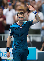 ANDY MURRAY (GBR)<br /> Tennis - Australian Open - Grand Slam -  Melbourne Park -  2014 -  Melbourne - Australia  - 18th January 2014. <br /> <br /> &copy; AMN IMAGES, 1A.12B Victoria Road, Bellevue Hill, NSW 2023, Australia<br /> Tel - +61 433 754 488<br /> <br /> mike@tennisphotonet.com<br /> www.amnimages.com<br /> <br /> International Tennis Photo Agency - AMN Images