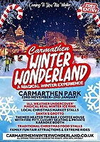 2018 11 14 Carmarthen Winter Wonderland poster printed incorrectly, Wales, UK