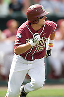 Florida State's CF Tyler Holt in Game 5 of the NCAA Division One Men's College World Series on Monday June 21st, 2010 at Johnny Rosenblatt Stadium in Omaha, Nebraska.  (Photo by Andrew Woolley / Four Seam Images)