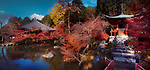 Bentendo Hall with a pond and Daikodo Hall in the background at Daigo-ji temple, in a beautiful panoramic autumn scenery. Shimo-Daigo part of Daigoji complex in fall colors. Shingon Buddhist temple in Fushimi-ku, Kyoto, Japan 2017.