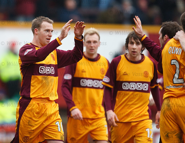 David Clarkson celebrates his goal for Motherwell