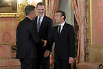 King Felipe VI of Spain (c), receives in the Royal Palace the President of the French Republic Emmanuel Macron (r) in presence of Spanish legend of cycling Miguel Indurain. July 26,2018. (ALTERPHOTOS/Acero)