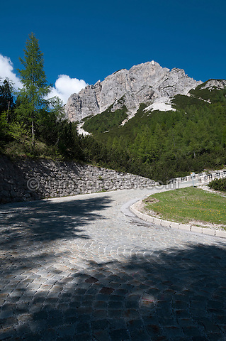 Cobblestoned hairpin bend 23 of the Vrsic mountain pass from Kranjska Gora to Bovec in the Julian Alps, Slovenia.