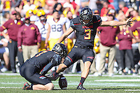 College Park, MD - October 15, 2016: Maryland Terrapins place kicker Adam Greene (3) kicks a field goal during game between Minnesota and Maryland at  Capital One Field at Maryland Stadium in College Park, MD.  (Photo by Elliott Brown/Media Images International)
