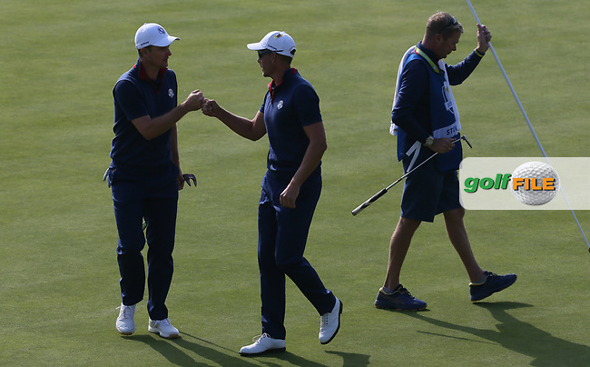 Henrik Stenson (Team Europe) & Justin Rose (Team Europe) go ahead on the 7th during Friday's Foursomes, at the Ryder Cup, Le Golf National, Île-de-France, France. 28/09/2018.<br /> Picture David Lloyd / Golffile.ie<br /> <br /> All photo usage must carry mandatory copyright credit (© Golffile | David Lloyd)