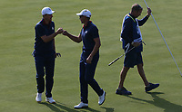 Henrik Stenson (Team Europe) &amp; Justin Rose (Team Europe) go ahead on the 7th during Friday's Foursomes, at the Ryder Cup, Le Golf National, &Icirc;le-de-France, France. 28/09/2018.<br /> Picture David Lloyd / Golffile.ie<br /> <br /> All photo usage must carry mandatory copyright credit (&copy; Golffile | David Lloyd)